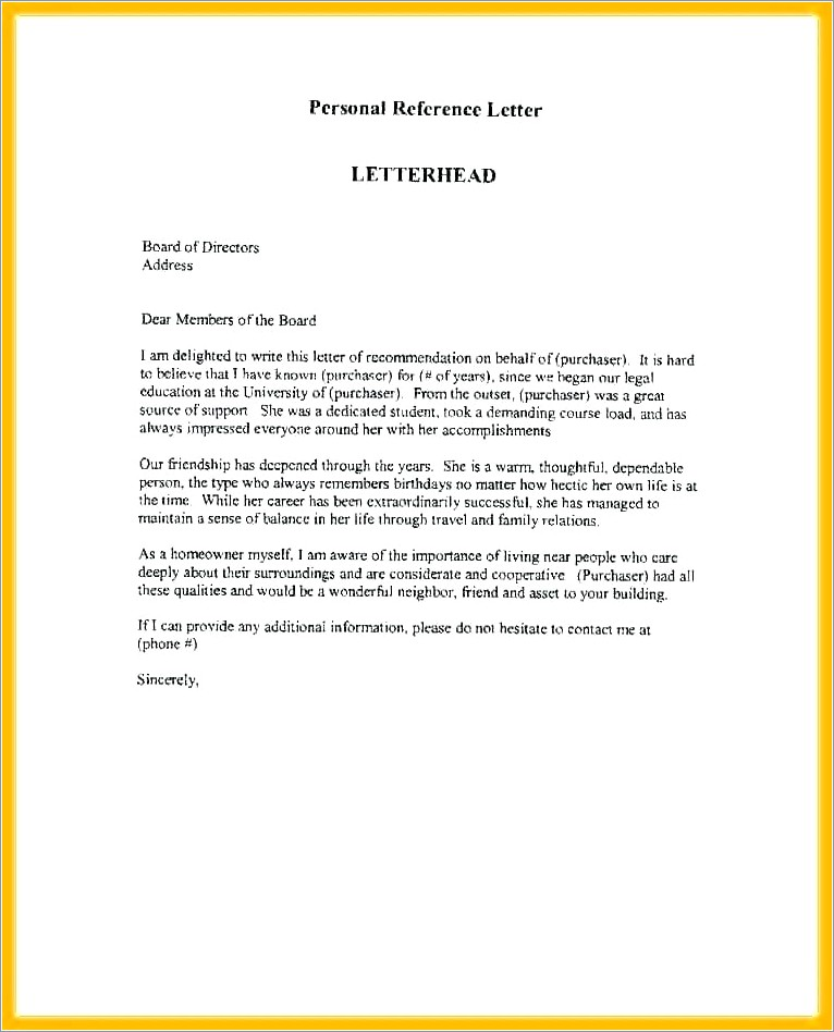 Character Reference Letter For Immigration From Employer