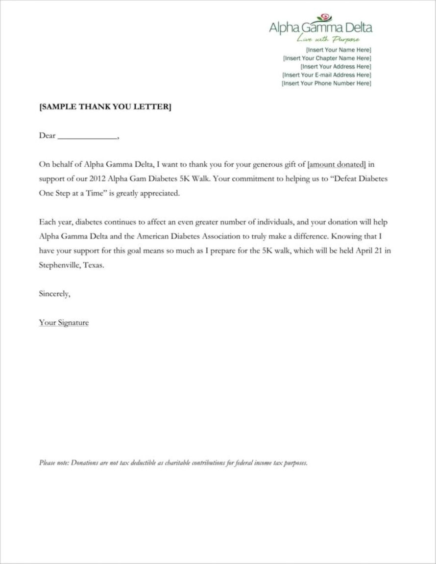 Charity Donation Thank You Letter Template
