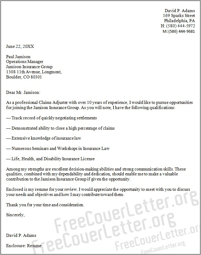 Claims Adjuster Trainee Cover Letter