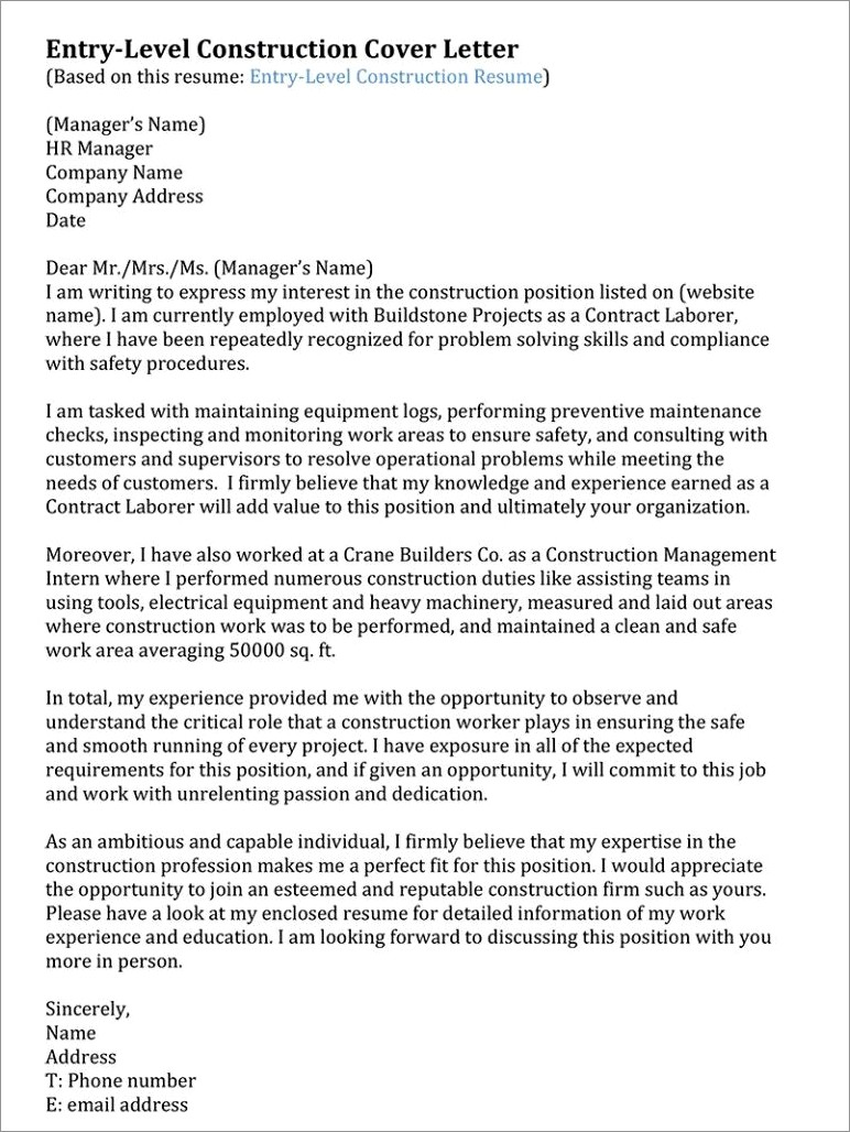 Construction Resume Cover Letter