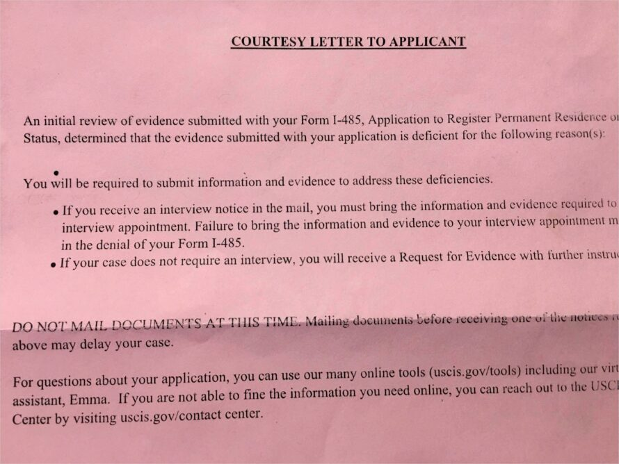 Courtesy Letter To Applicant I 693