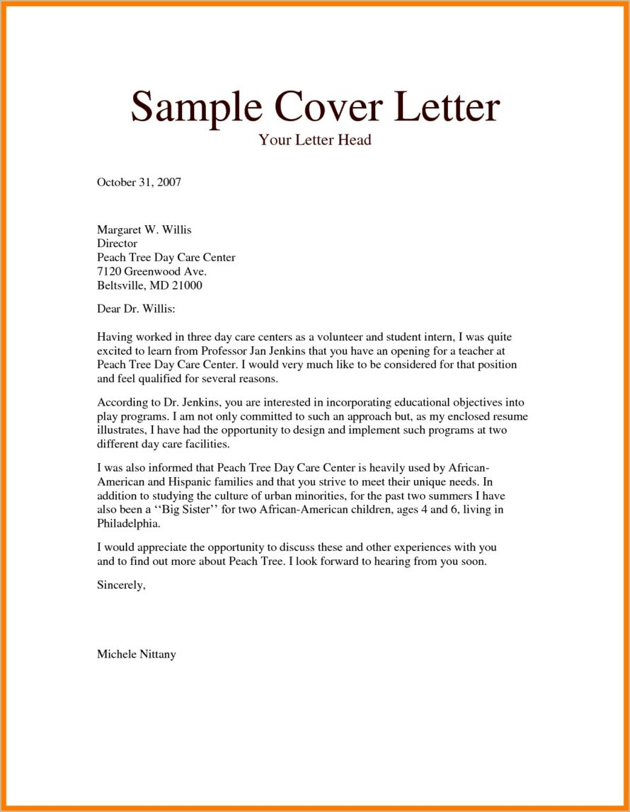 Cover Letter Examples For Preschool Teacher Assistant