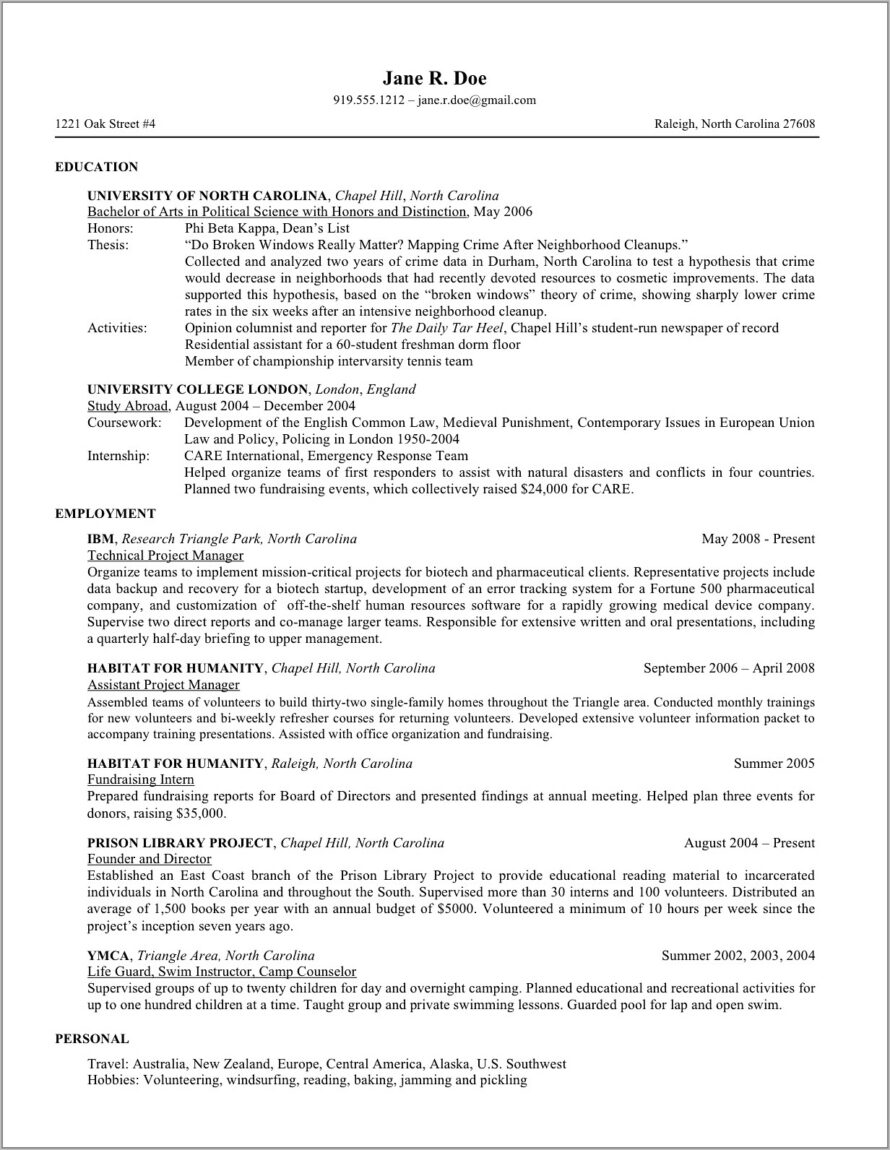 Cv Template For Law Students