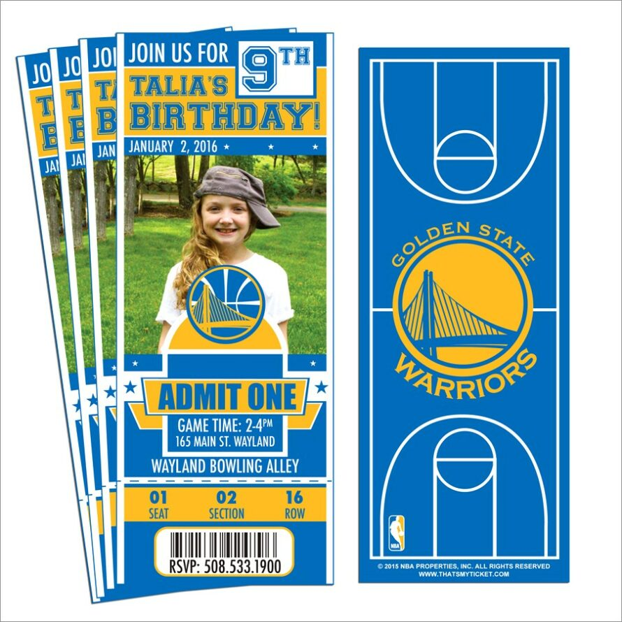 Free Printable Golden State Warriors Birthday Invitations