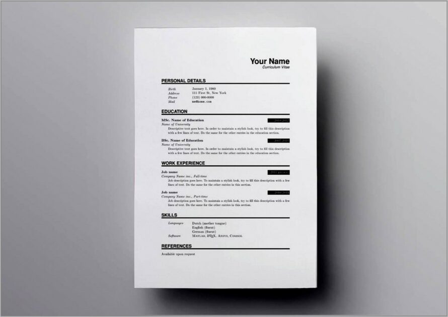 Latex Template For Curriculum Vitae