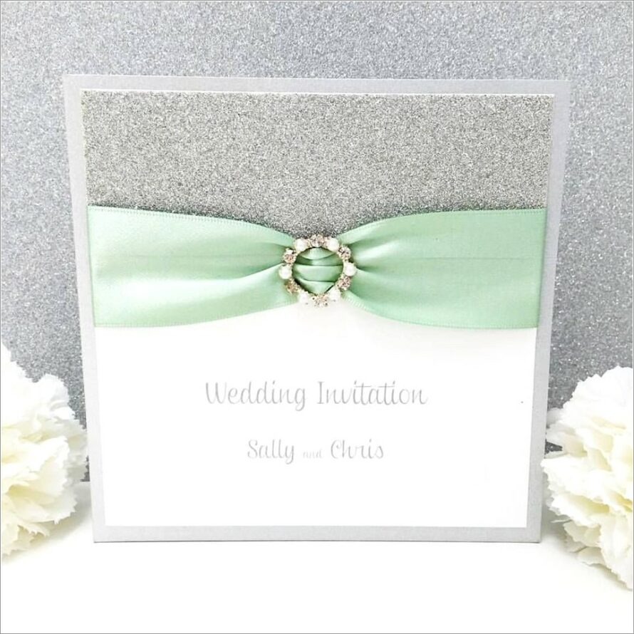 Mint And Silver Wedding Invitations