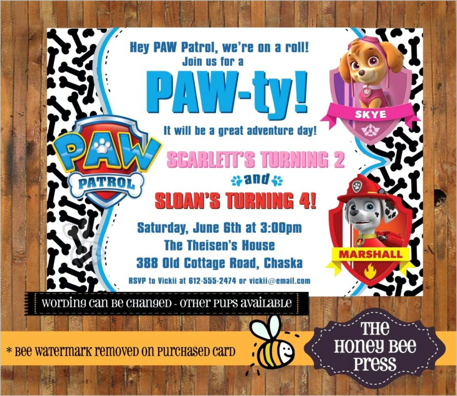 Paw Patrol Birthday Invitations Blank