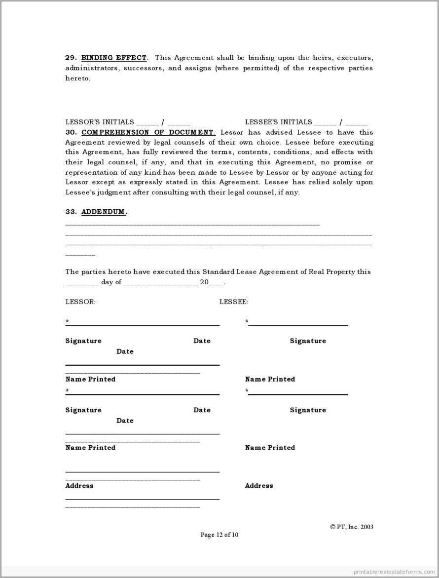 Real Estate Lease Agreement Form