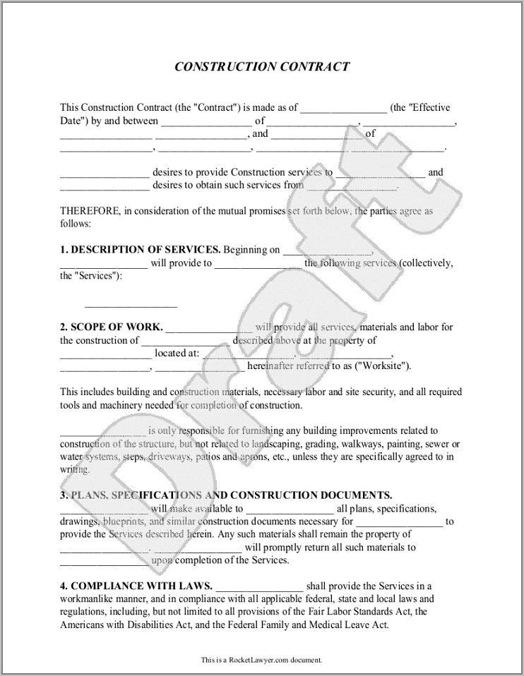 remodeling contract template free