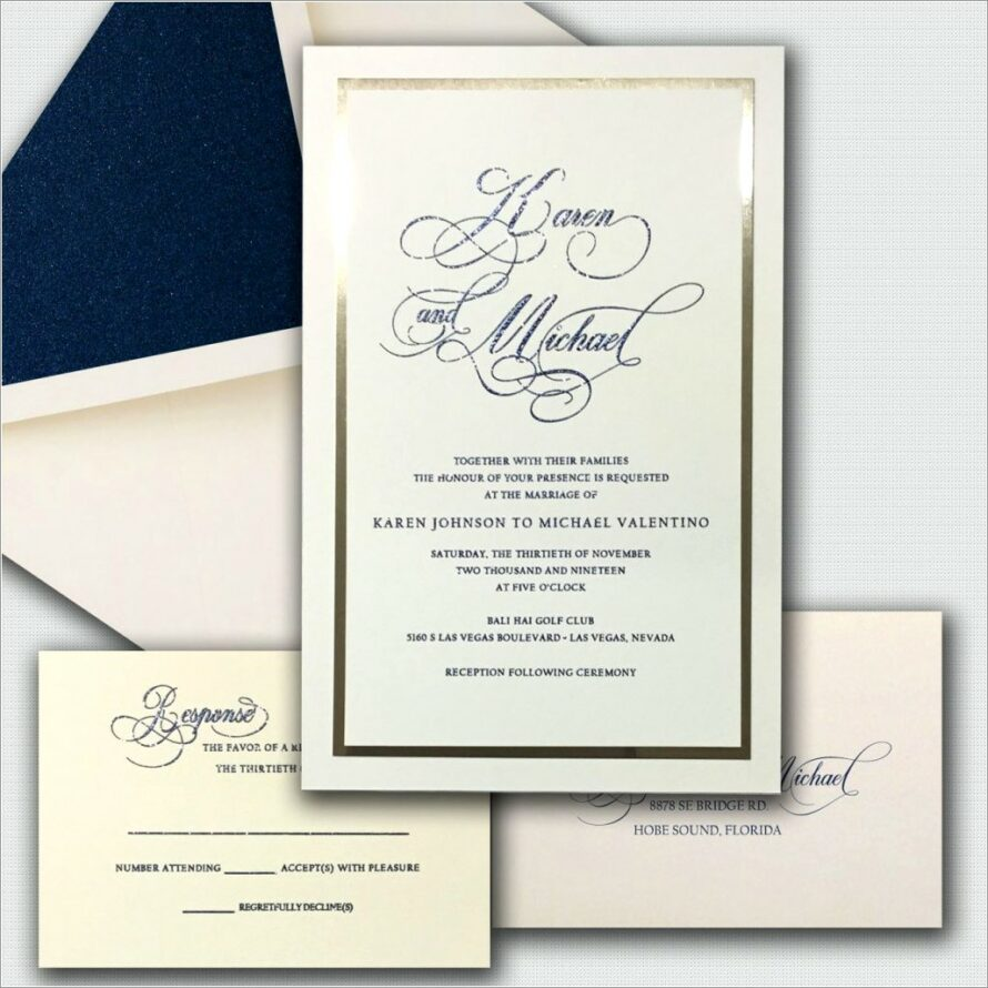 Sapphire Blue And Silver Wedding Invitations