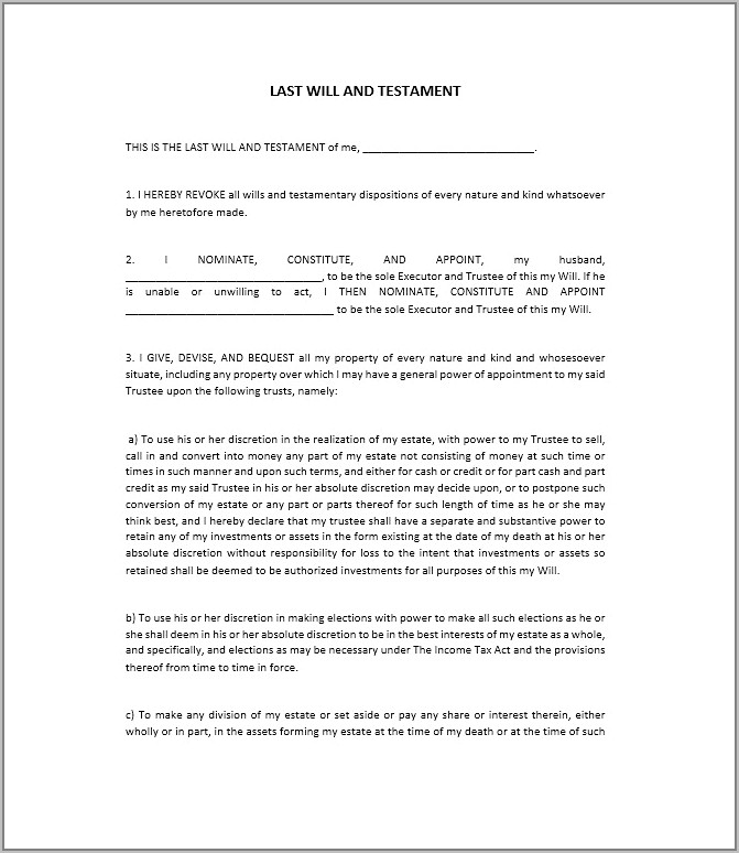 Templates Of Wills South Africa