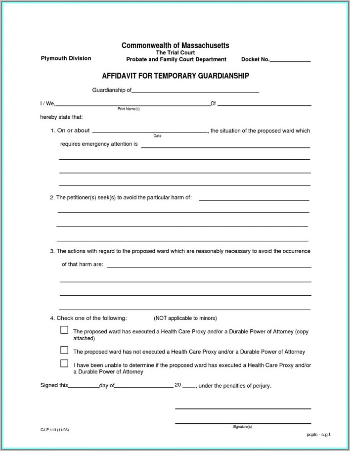 Temporary Guardianship Forms Kansas