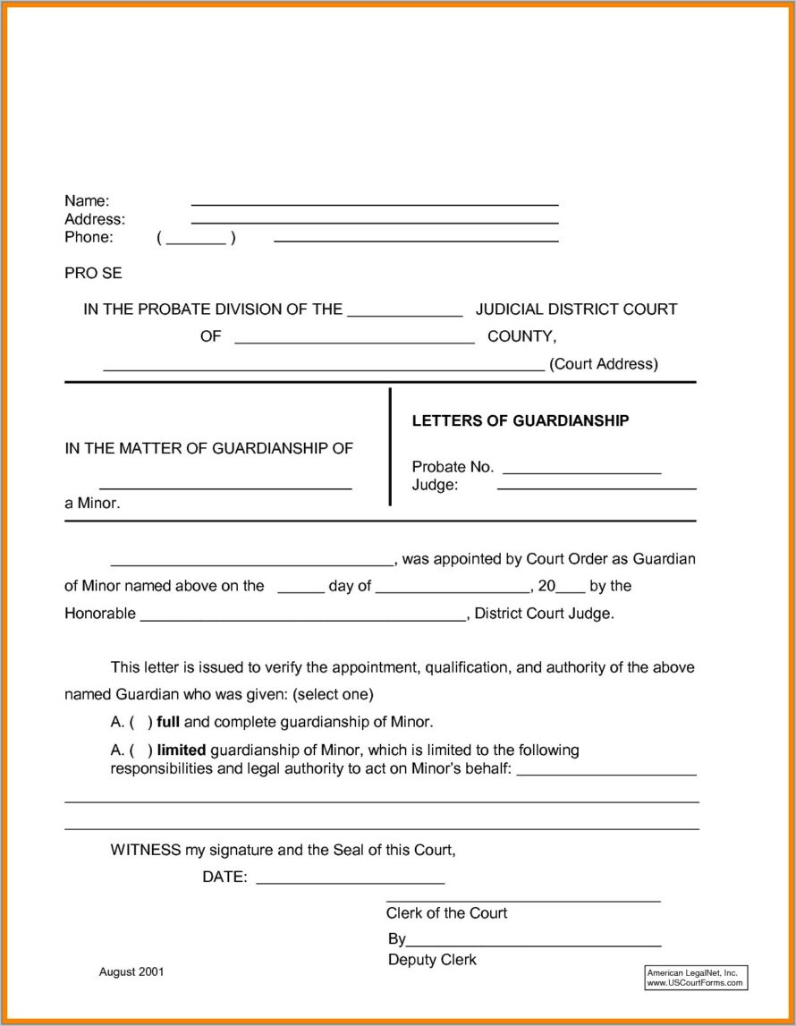 Temporary Guardianship Letter Template Canada