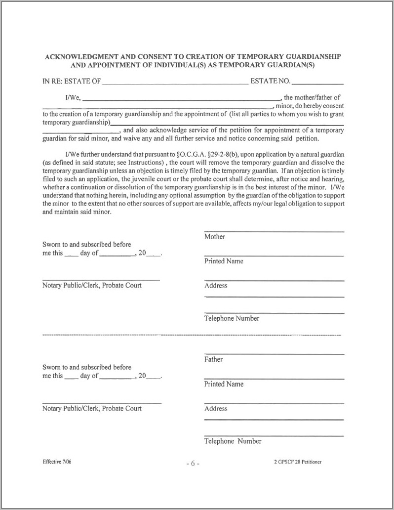 Temporary Guardianship Letter Template Free