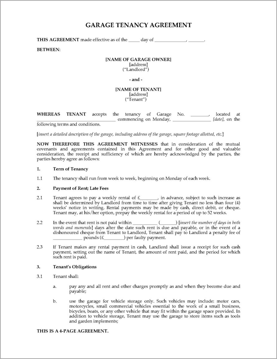 Tenancy Agreement Template For A Garage