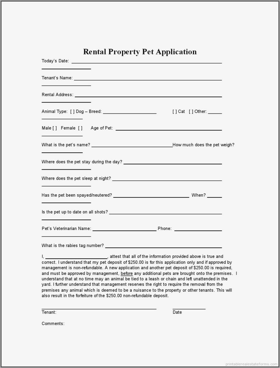 Tenant Application Form Template Canada