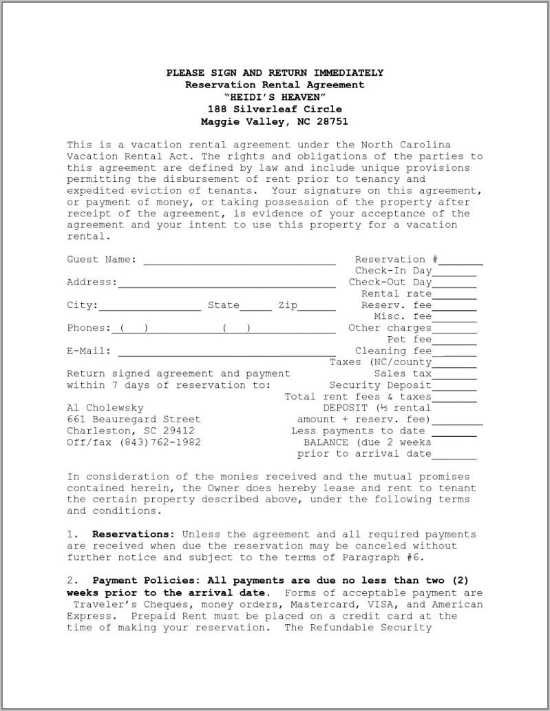 Tenant Contract Form Template