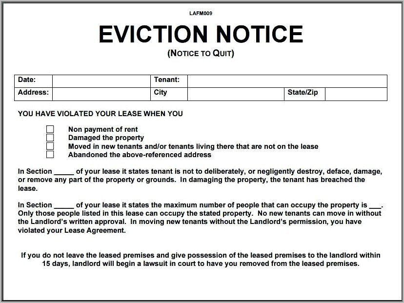 Tenant Eviction Notice Format