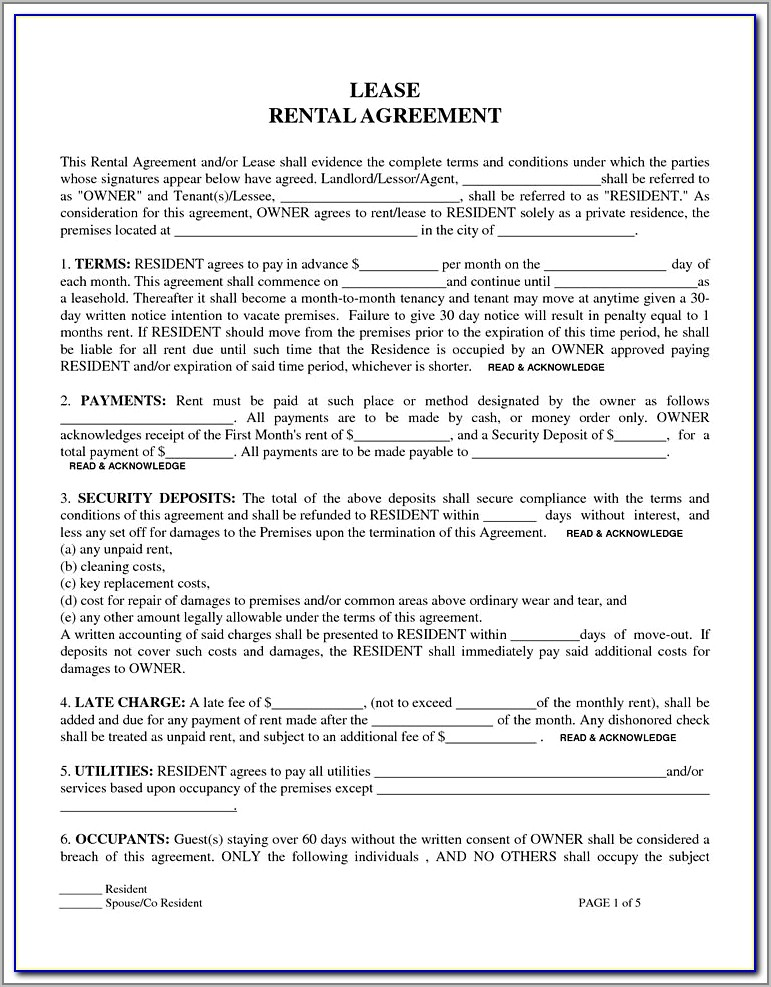 Tenant Lease Agreement Form Bc