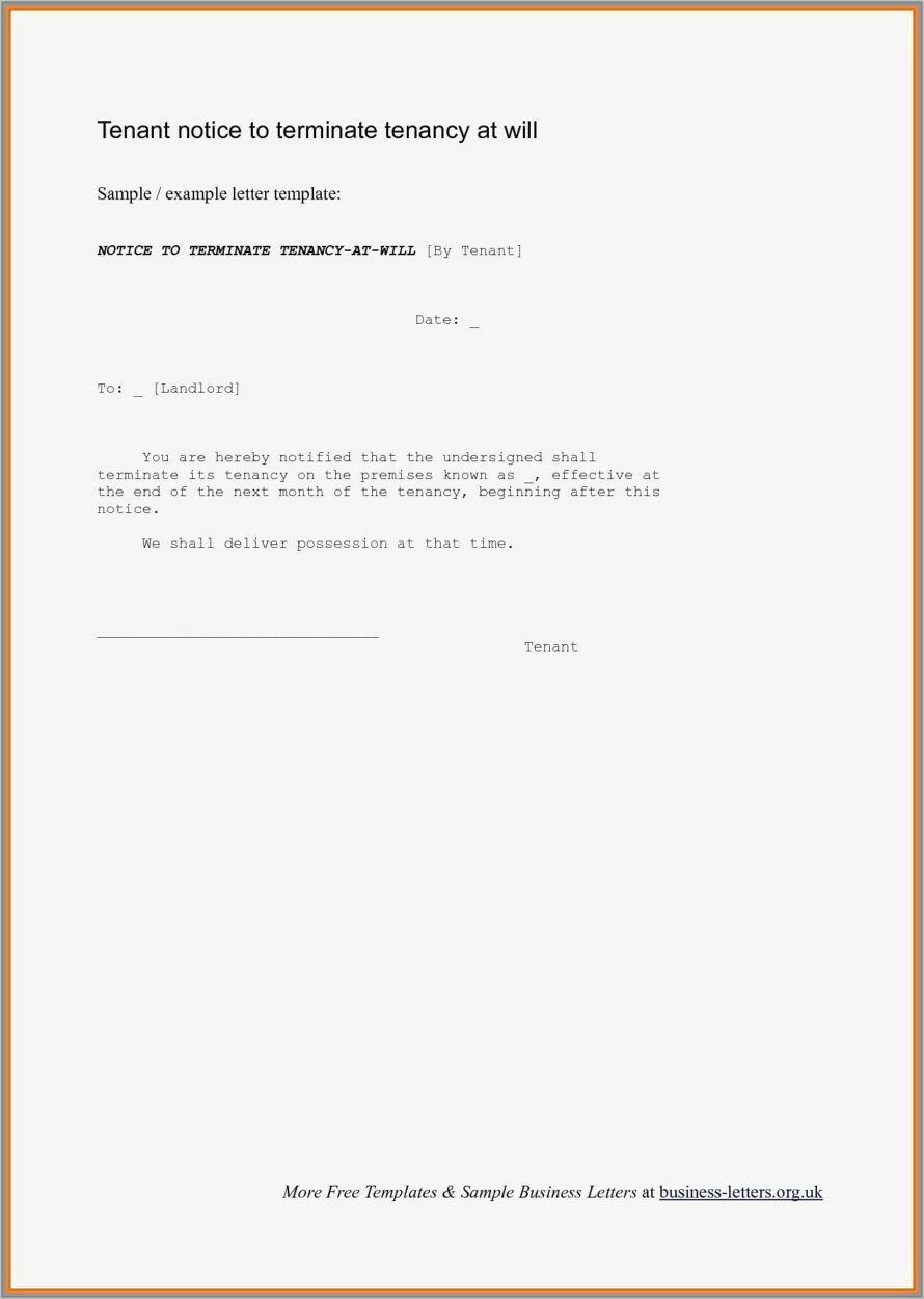 Tenant Notice Letter Example Uk