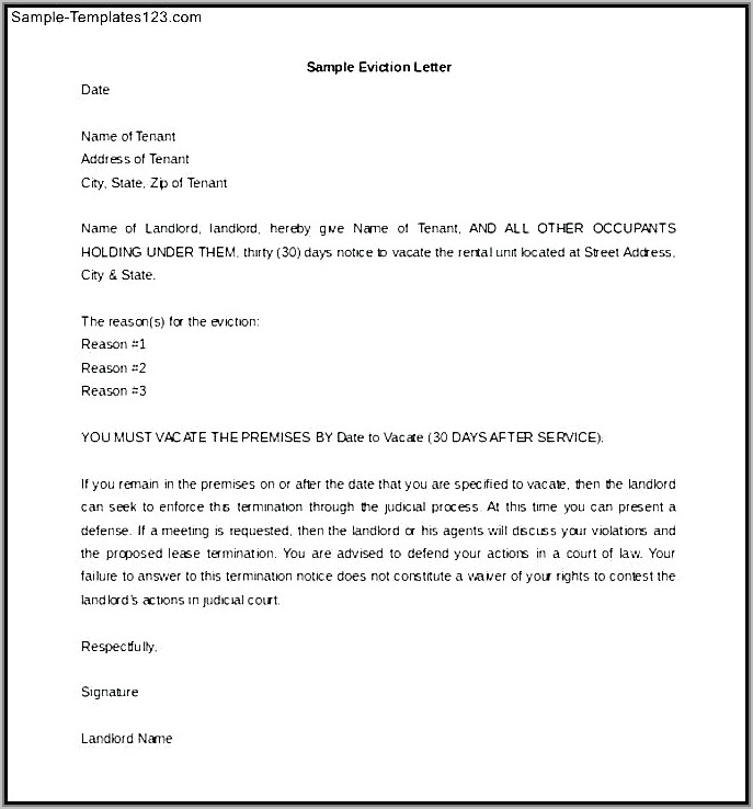 Tenant Notice Letter Sample Uk