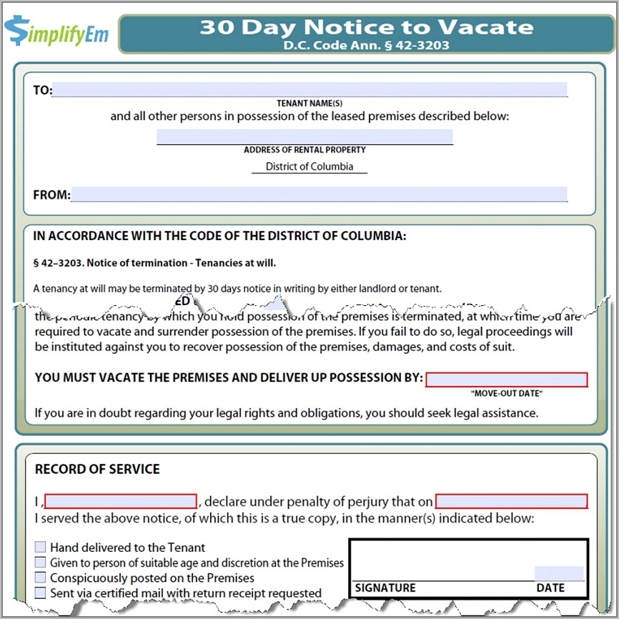 Tenant Notice To Vacate Form Ontario