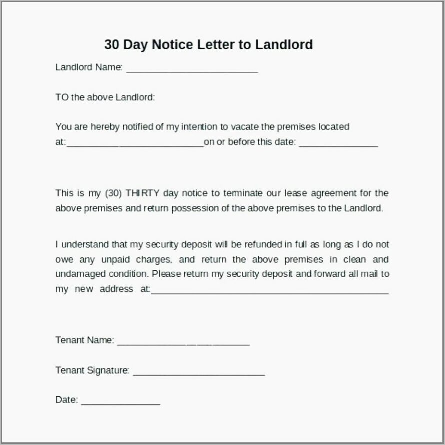 Tenant Notice To Vacate Template Uk