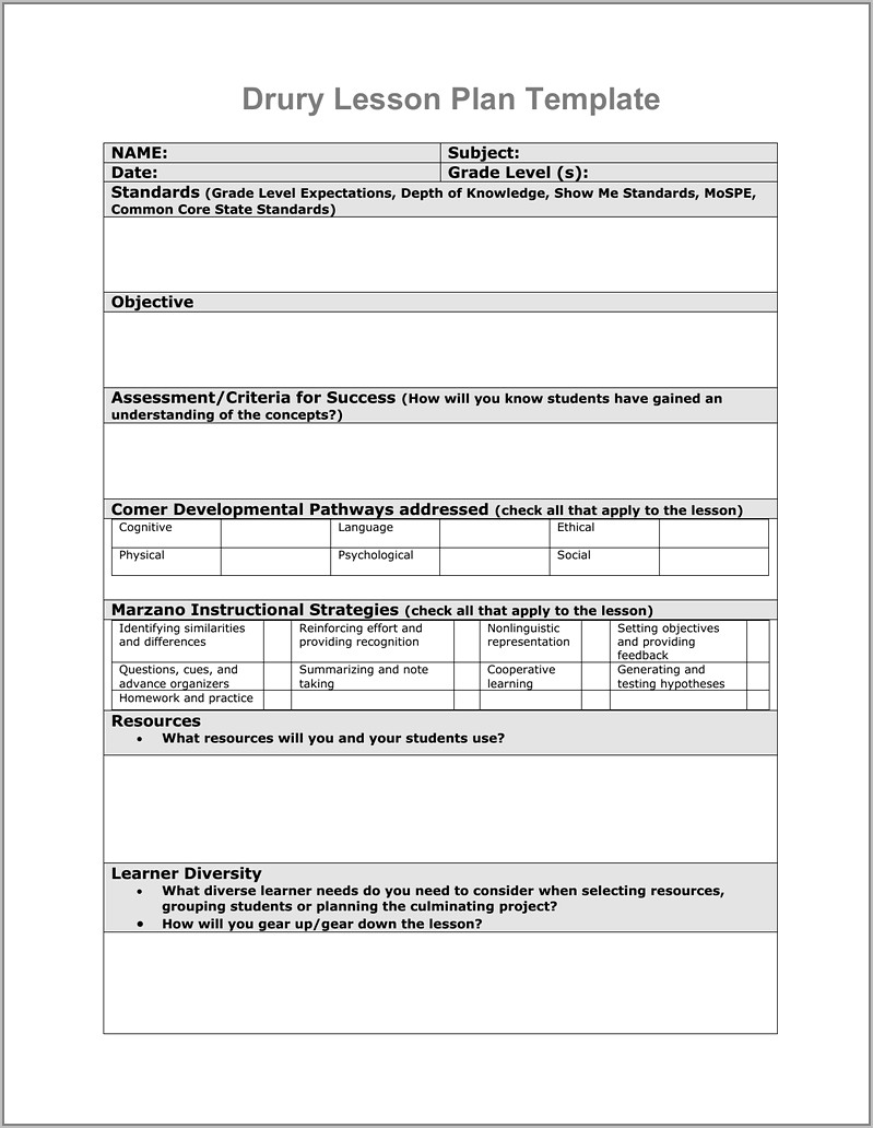 Tennessee Instructional Model Lesson Plan Template
