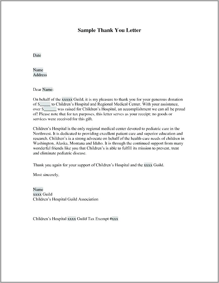 Thank You Letter Template For Donor