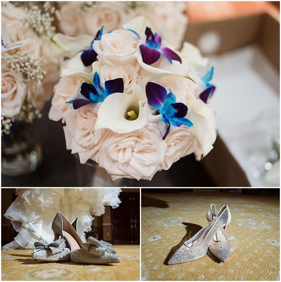 Wedding shoes and flowers at The Palace at Somerset Park Wedding