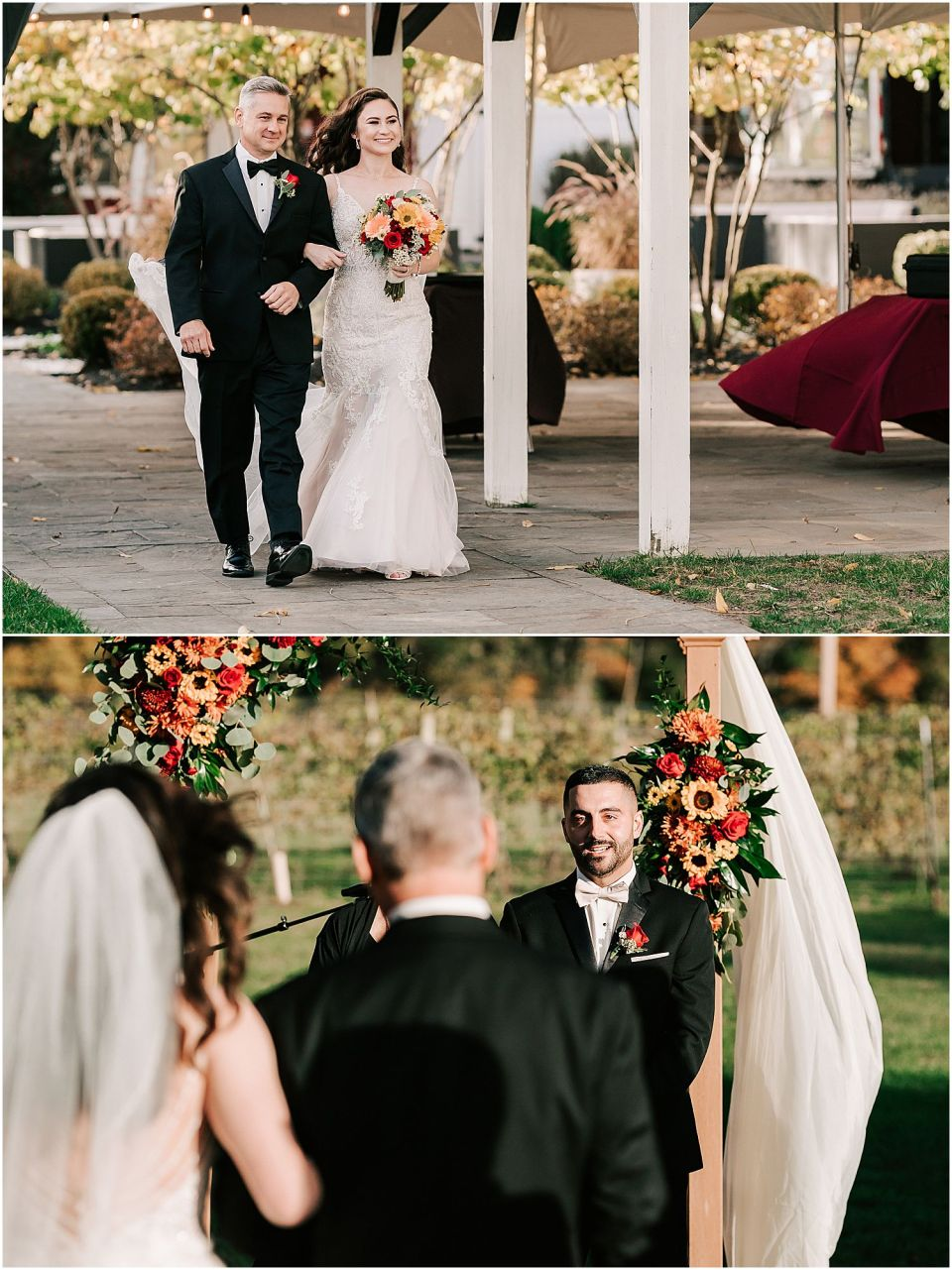 The groom seeing his bride for the first time at this Valenzano Winery Wedding