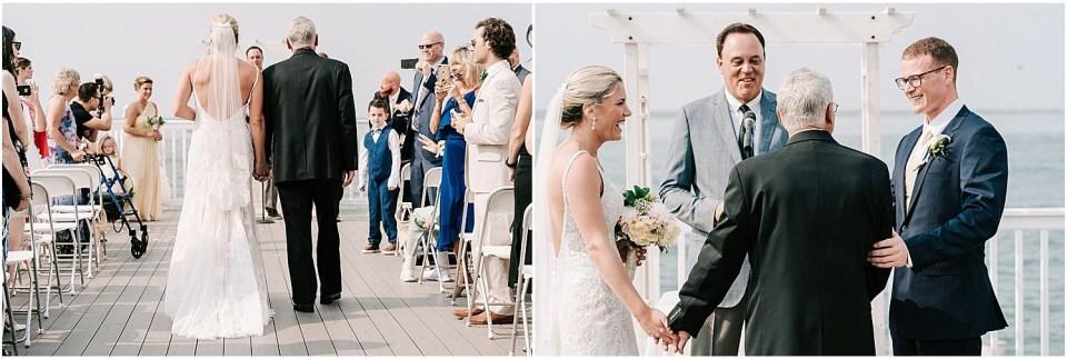 Ceremony entrance at this Avalon Yacht Club Wedding