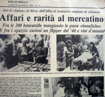Eco di Biella 1989 - articolo mostra antiquariato