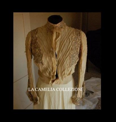 camicetta domenicale in seta ricamata con sbuffo in chiffon fine 1800 - moda femminile 1800 - la camelia collezioni