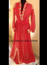 vestito domenicale colore corallo fine 1800 - moda femminile 1800 - la camelia collezioni