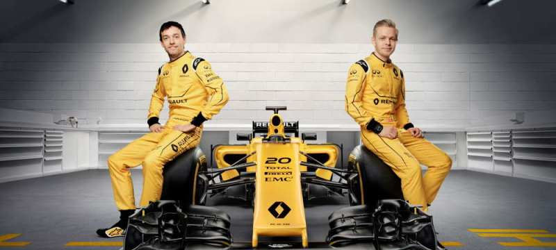 Renault Sport Formula One Team drivers Jolyon Palmer and Kevin Magnussen