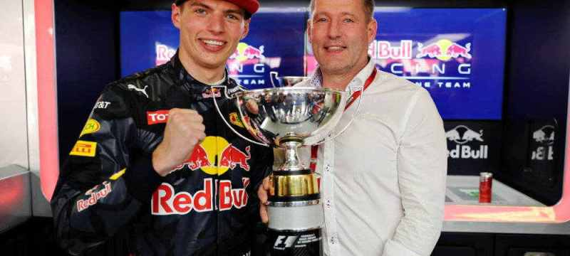 Max Verstappen Celebrating his first F1 win with his dad and his new team