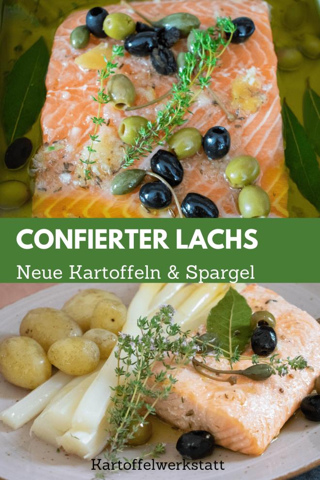 Confierter Lachs - einfache Garmethode.  mit neuen Kartoffeln und frisch gestochenem Spargel