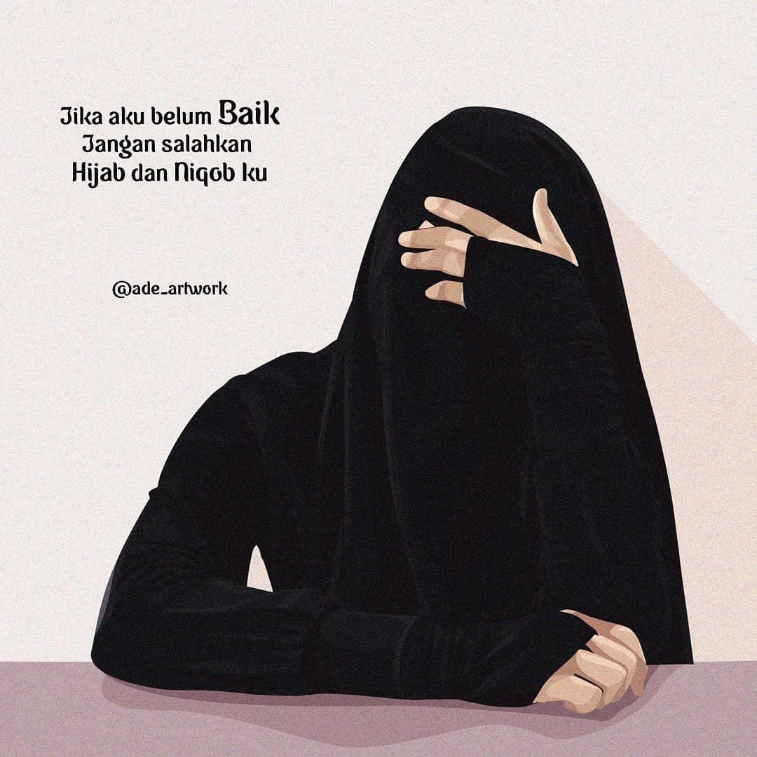 Gambar Kartun Muslimah Bercadar Bersabar
