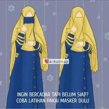Gambar Kartun Muslimah Bercadar Latihan Bercadar