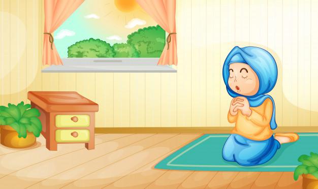 Gambar Kartun muslimah melaksanakan Tata Cara Shalat Taubat beserta Bacaannya