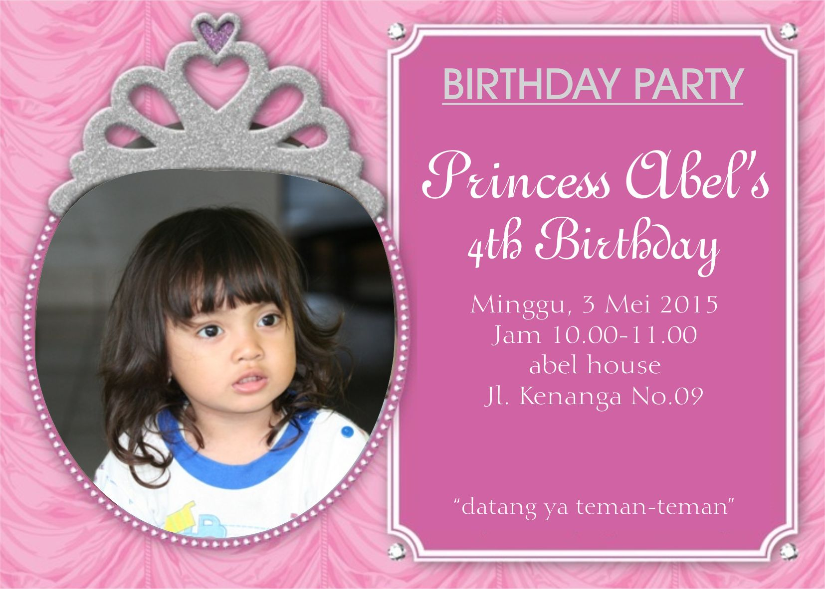 Undangan Ulang Tahun Anak Princess Kartu Undangan Ulang Tahun Anak