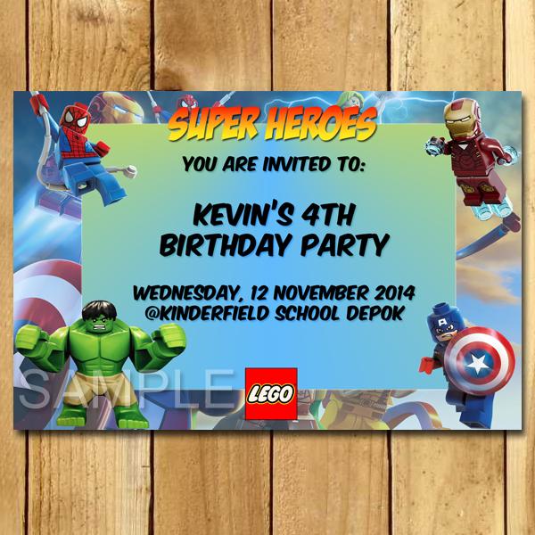 Kartu Ulang Tahun Lego Super Heroes Undangan Ulang Tahun Anak