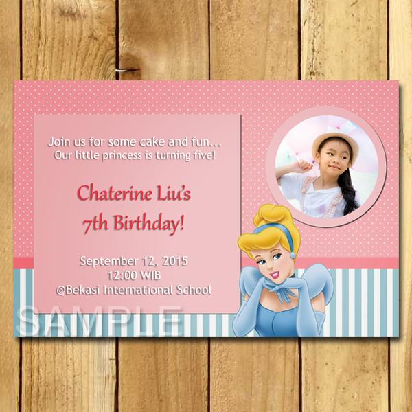 Kartu Undangan Ulang Tahun Cinderella Cartoon Undangan Ulang Tahun