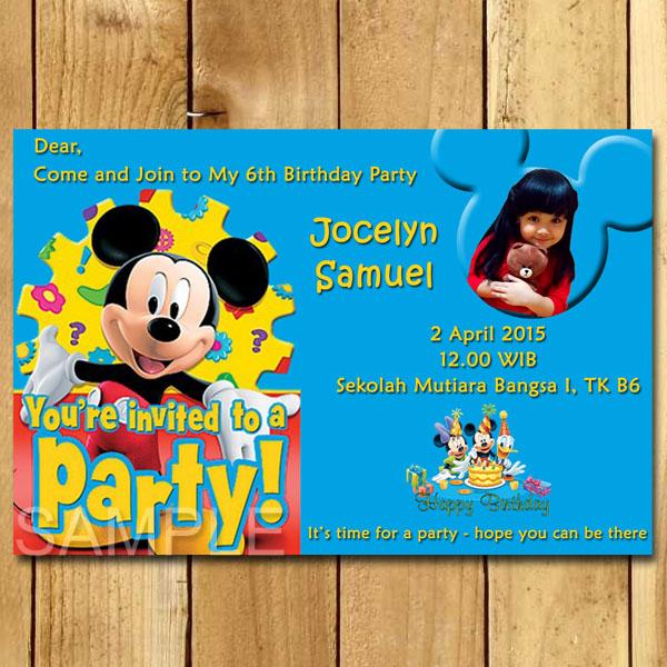 Kartu Undangan Ulang Tahun Mickey Mouse Undangan Ulang Tahun Anak