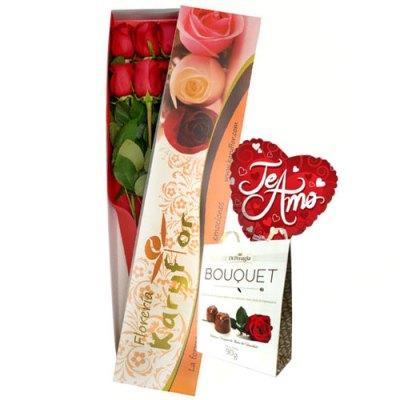 Caja de 6 Rosas con Chocolate(caja blanca) y globo Nº 9, incluye tarjeta dedicatoria y preservante. Pueden adicionar Chocolates y más, ingresando a la opción REGALOS en la parte superior de la Pág. web.