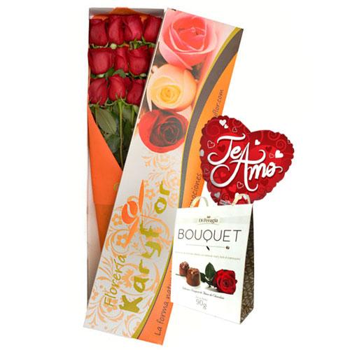 Caja de 12 Rosas con Chocolate(caja blanca) y globo Nº 9, incluye tarjeta dedicatoria y preservante. El color de la caja puede variar segun stock. Pueden adicionar Chocolates y más, ingresando a la opción REGALOS en la parte superior de la Pág. web.