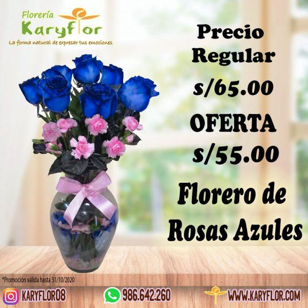 florero rosas azules