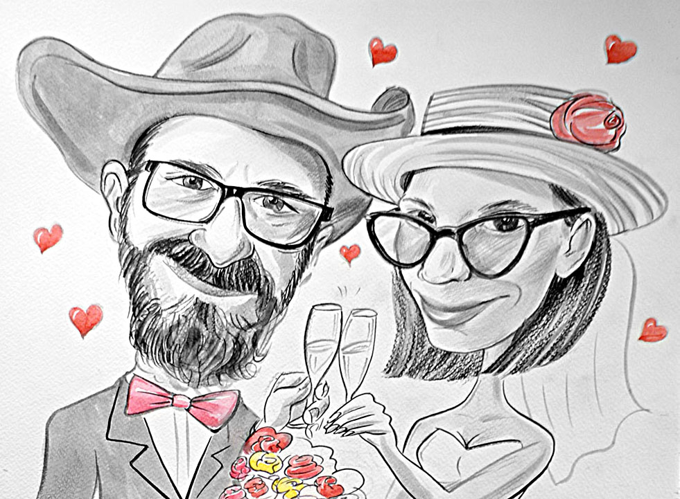 Prezent na Walentynki- karykatura na Walentynki