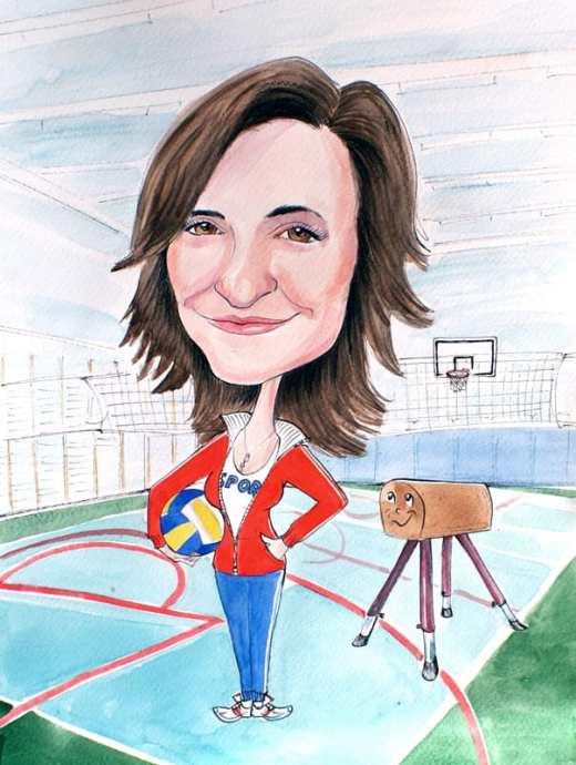 nauczycielka-wf-karykatura-dla-nauczyciela-karykaturaportret.eu
